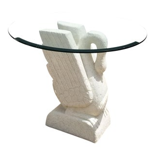 Sculptural Swan Shape Plaster Accent Table For Sale