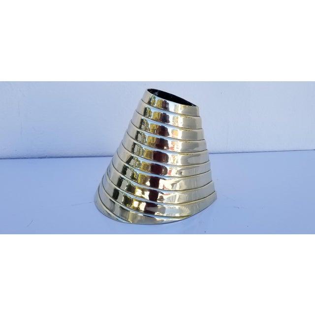 Vintage Sculptural Solid Brass Polished Decorative Vase For Sale - Image 9 of 9