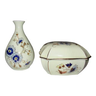 Zsolnay Pecs Blue Cornflower Pattern Numbered Porcelain Trinket Box & Bud Vase For Sale