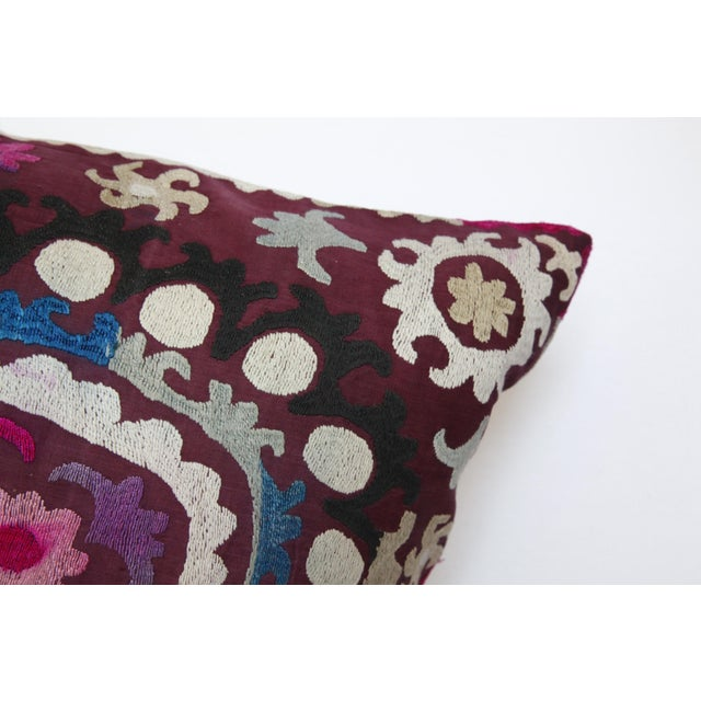 Textile Vintage Handmade Needlework Suzani Throw Pillow Cover For Sale - Image 7 of 13