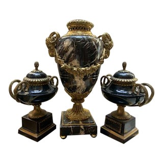 Antique Black Marble and Gold Urn Set - 3 Pieces For Sale