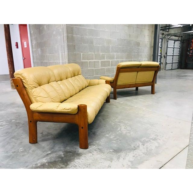 Khaki 1970s Vintage Ekornes Stressless Montana Solid Teak Loveseat and Sofa - 2 Pieces For Sale - Image 8 of 13