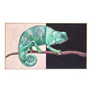 """""""Bi-Sected Chameleon"""" Acrylic Diptych by Elizabeth Soloman, 1991 For Sale"""