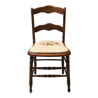 Early 20th Century Needlepointed Wood Chair For Sale