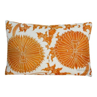 Vintage Reversible Tangerine Embroidered Down Feather Designer Pillow For Sale