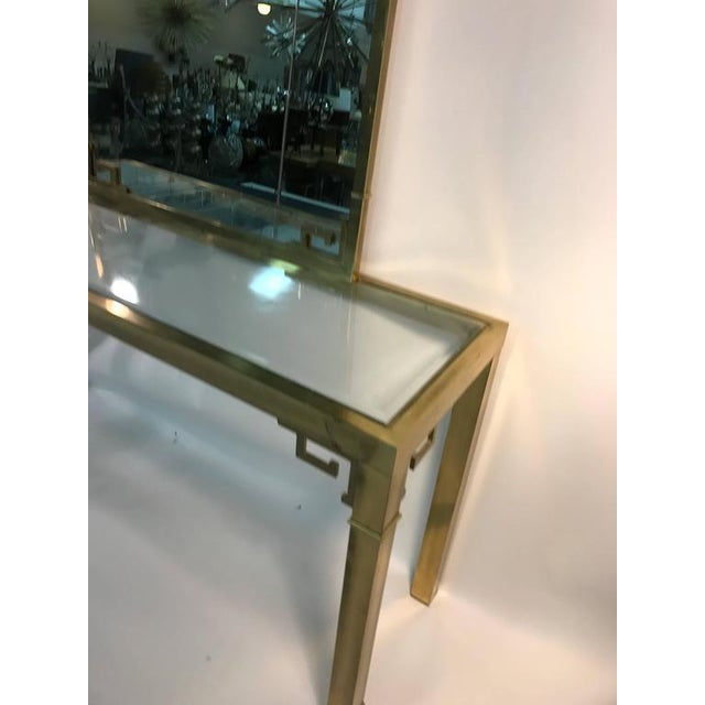 Brass STUNNING SOLID BRASS ITALIAN MIRROR AND CONSOLE TABLE WITH GREEK KEY DESIGN For Sale - Image 7 of 8