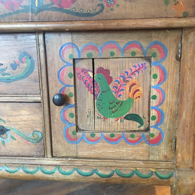 Arts & Crafts Early 21st Century Dutch Folk Art Painted Oak Chest For Sale - Image 3 of 13