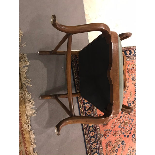 Baker Furniture Company Baker Green Leather Seat Arm Chair For Sale - Image 4 of 5