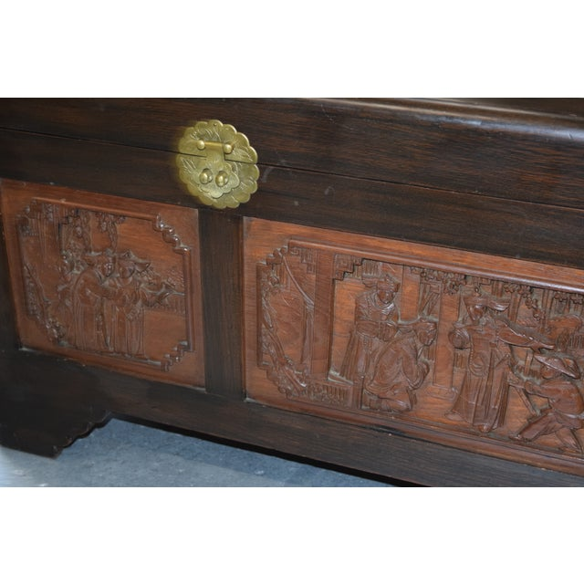 VINTAGE/ANTIQUE CHINESE ROSEWOOD HAND CARVED CAMPHOR INTERIOR TRUNK J. L. GEORGE. Very good condition with minor normal...