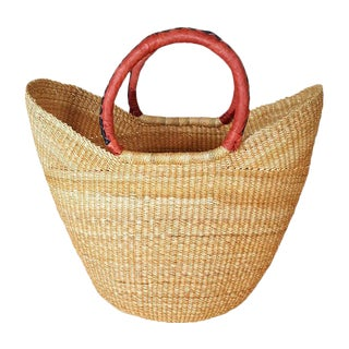 African Bolga Ghana Woven Natural Yikene Basket For Sale