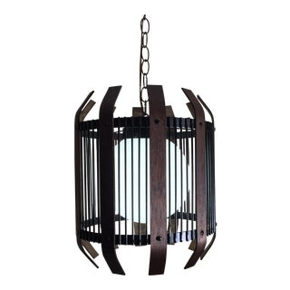 Mid-Century Globe Cage Pendant Light For Sale