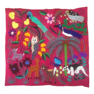 Mexican Folk Art Embroidered Pillow