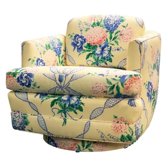 Brunschwig & Fils Pastel Yellow Blue and Pink Floral Hydrangea Swivel Club Chair For Sale