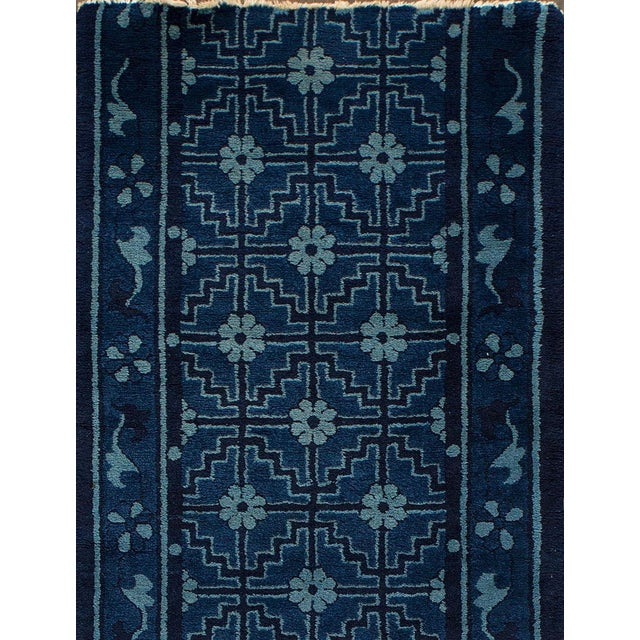 "Asian Apadana - Antique Blue Chinese Peking Runner Rug, 2'5"" x 10' For Sale - Image 3 of 5"