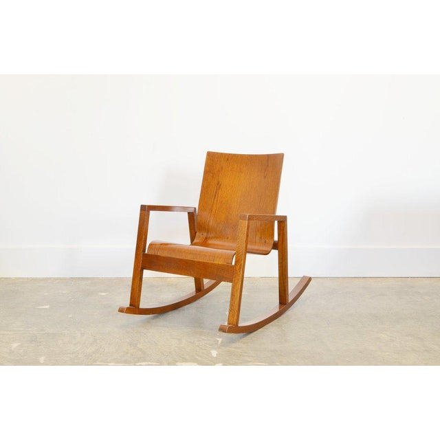 Mario Prandina Dondolo Rocking Chair in Oak For Sale - Image 4 of 4