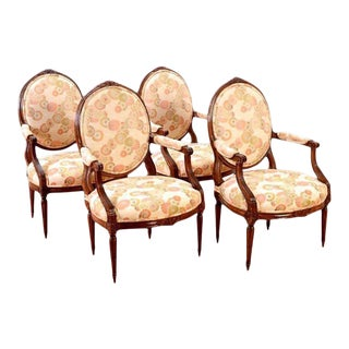 19th Century Louis XVI Style Carved Beechwood Fauteuil Arm Chairs - Set of 4 For Sale