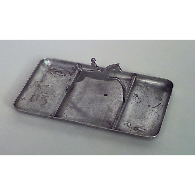 American Art Deco pewter rectangular three section ashtray with horse and rider handle