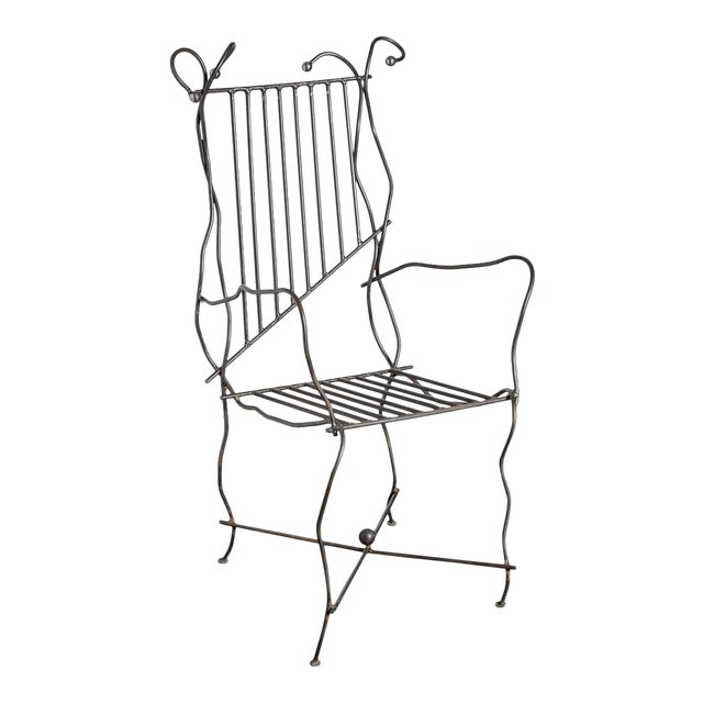 Modern Sculptural Iron Chair Hand Made by Unknown Artist For Sale