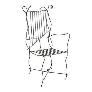 Vintage Unusual Sculptural Iron Chair For Sale
