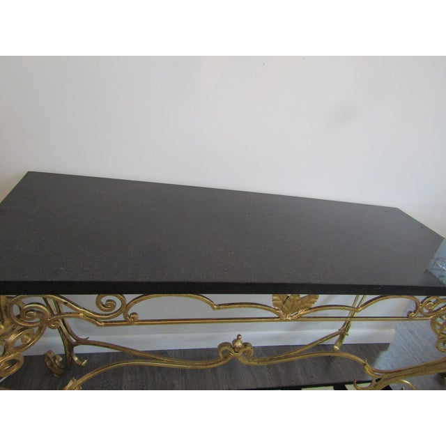 Traditional 1950s Vintage Gold Leaf Wrought Iron Console Table For Sale - Image 3 of 7