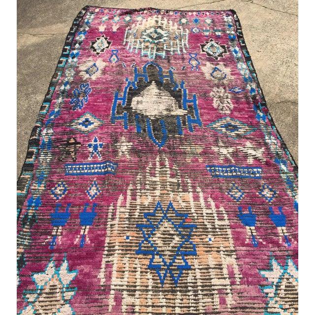Vintage Moroccan Azilal Purple & Blue Wool Rug- 5′9″ × 10