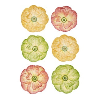 Moda Domus x Chairish Exclusive Dinner Plates, in Green, Yellow, and Pink - Set of 6