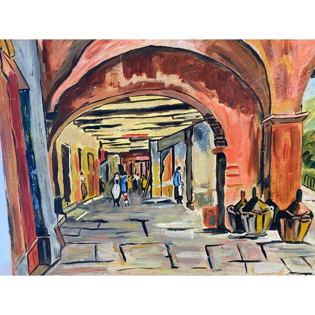 1970s Market Scene Painting For Sale - Image 5 of 6