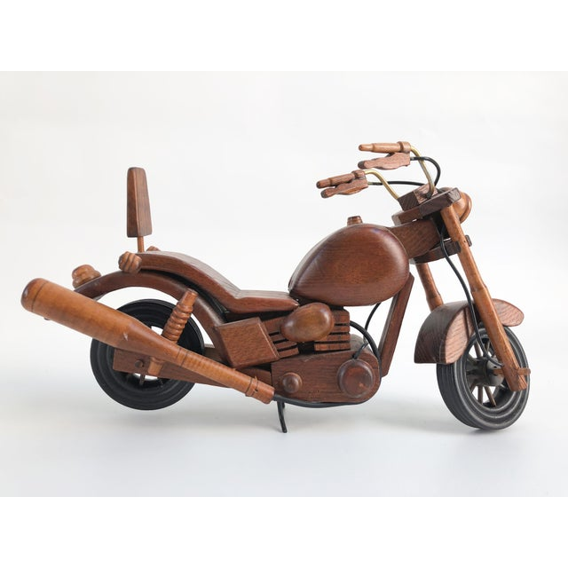 Vintage Motorcycle Wood Model Sculpture For Sale - Image 4 of 8