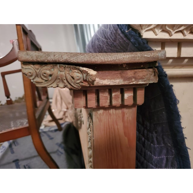 1920s Antique English Carved Pine Mantel For Sale - Image 5 of 7