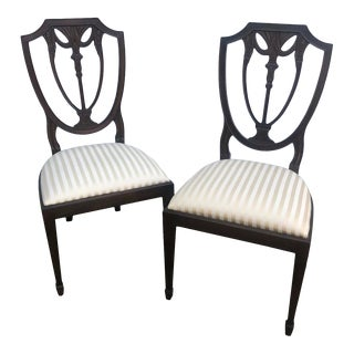 Henkel Harris Showroom Sample Traditional Shieldback Dining Chairs - a Pair For Sale