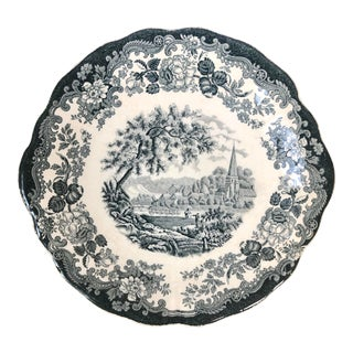 Royal Worcester Hand Engraved Transferware Cake Plate For Sale