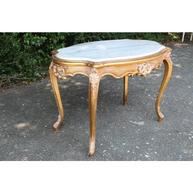20th Century Louis XVI Center or Coffee Table With Marble Top For Sale - Image 4 of 6