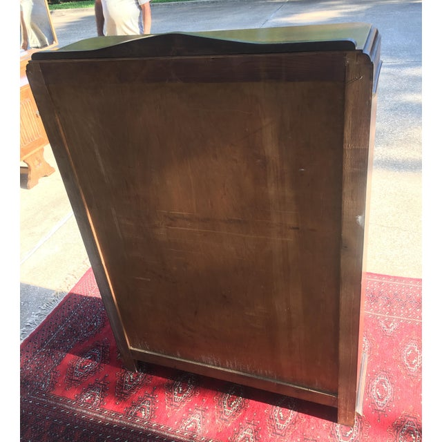 Mid-Century Carved Oak Leaded Glass Bookcase For Sale - Image 4 of 10