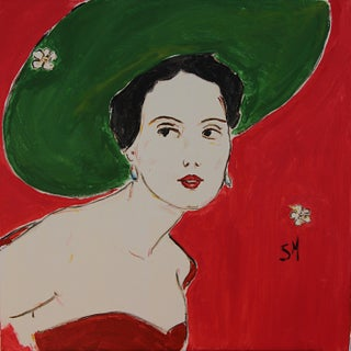 "Contemporary Sarah Myers ""The Green Hat"" Acrylic Painting For Sale"