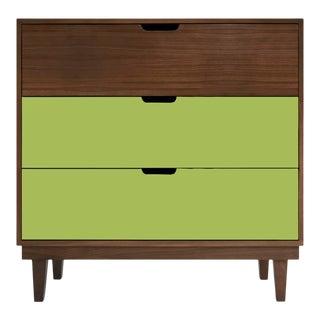Nico & Yeye Kabano Modern Kids 3-Drawer Dresser Solid Walnut and Walnut Veneers Green For Sale