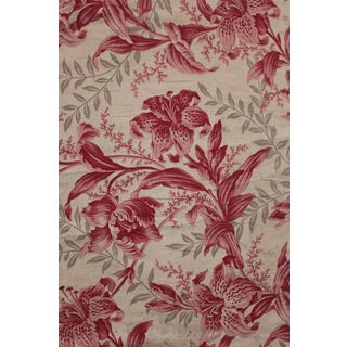 Antique 1860s French Pink Lily Tulip Grey Gray Printed Cotton Fabric For Sale