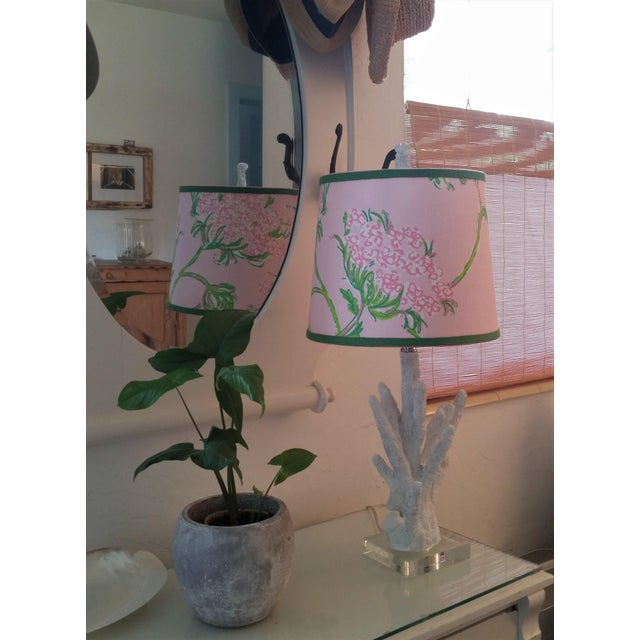 Lilly Pulitzer Fabric Pink, Green Tapered Drum Lampshade For Sale - Image 10 of 12