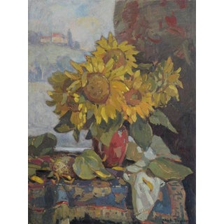 John C. Traynor, Sunflowers in Red Porcelain, 2014 For Sale