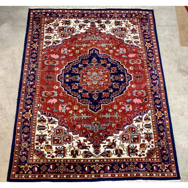 Persian Large Vintage Bahtiari Handwoven Persian Fine Wool Rug For Sale - Image 3 of 6