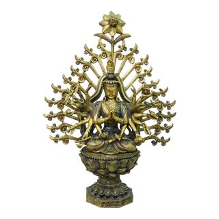 Chinese Brass Avalokiteśvara Statue For Sale