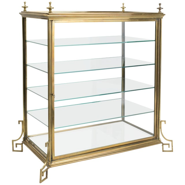 Italian Brass and Glass Display Cabinet For Sale