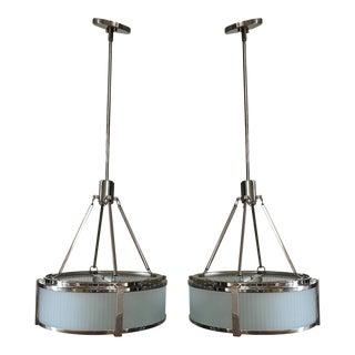 Sonneman Roxy 4-Light Drum Pendants - a Pair For Sale