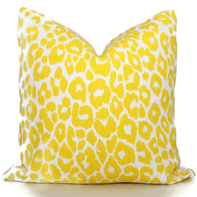 Add a pop o' yellow to your decor with this leopard pillow cover. Recently introduced by Schumacher, the iconic leopard in...