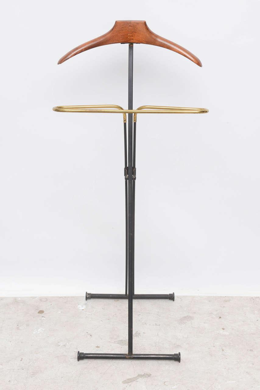 Mid Century Modern French Wood U0026 Brass Menu0027s Valet Stand   Image ...