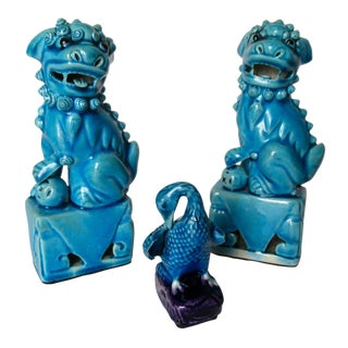C1950s-60s Blue Asian Foo Dogs & Faience Duck Accent - 3 Pieces For Sale