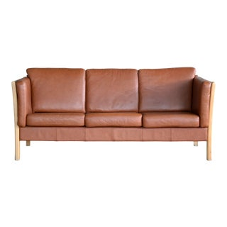 Borge Mogensen Style Three-Seat Spoke-Back Sofa in Cognac Leather For Sale