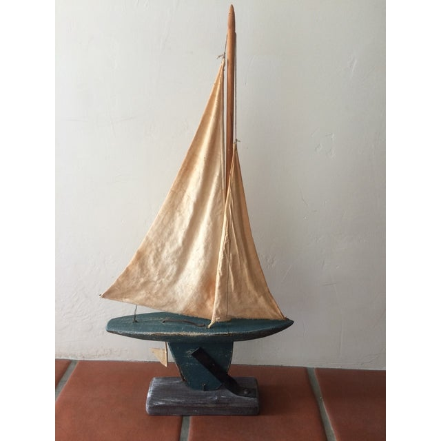 Rustic Wooden Sailboat - Image 2 of 6