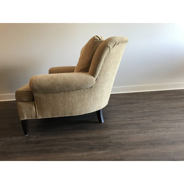Yellow 1990s Pearson Club Chair and Ottoman Restyled in Ralph Lauren Khaki Fabric For Sale - Image 8 of 13