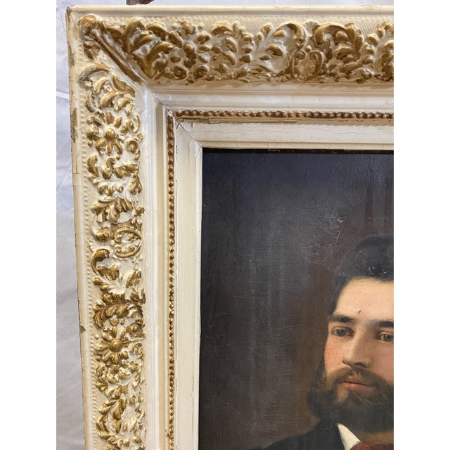 Portraiture Antique 19th C. Oil on Canvas Portrait of a Handsome Bearded Man White Gilt Gold Frame For Sale - Image 3 of 11