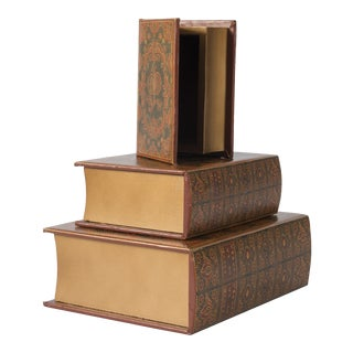 Early 20th Century Faux Book Boxes - Set of 3 For Sale